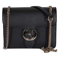 557690fd424 Gucci Women s Black Leather 510304 Interlocking GG Crossbody Purse Handbag  - 7.75