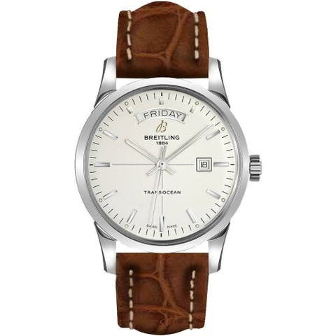 Breitling Men's A4531012-G751-500P 'Transocean Day & Date' Brown Leather Watch - Silver