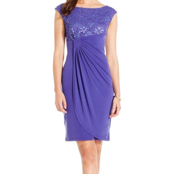 Connected Apparel NEW Purple Lace Sequin Draped Women's 8 Sheath Dress