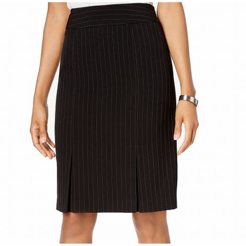 Kasper Womens Skirt Black Size 6P Petite Pinstripe Pleated Pencil