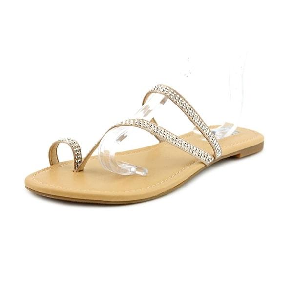 INC International Concepts Mistye 2 Women Open Toe Canvas Nude Slides Sandal