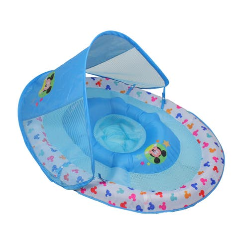 Blue and White Mickey Mouse Swimming Pool Spring Baby Float, 34-inch