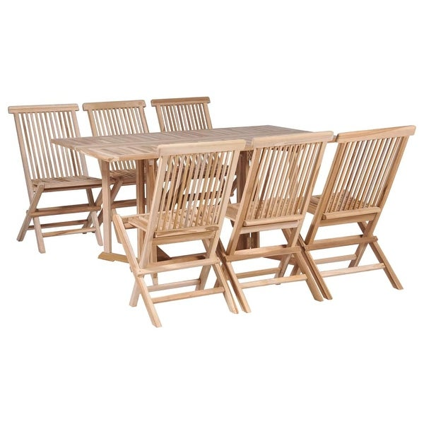 Shop VidaXL 7 Piece Folding Outdoor Dining Set Solid Teak