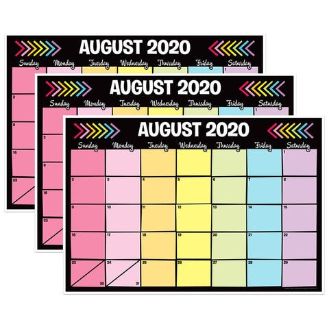 """Neon Black Desk Academic Calendar, August-July, 13"""" x 19"""", Pack of 3 - One Size"""