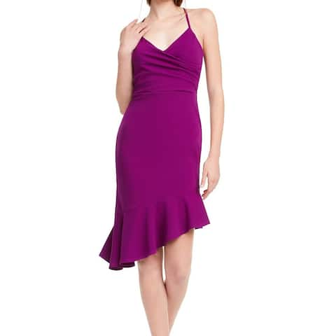 bebe Womens Sheath Dress Eggplant Purple Size XXS Asymmetrical Flounce