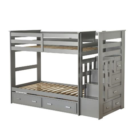 Transitional Twin Size Bunk Bed with 5 Drawers and Attached Trundle, Gray