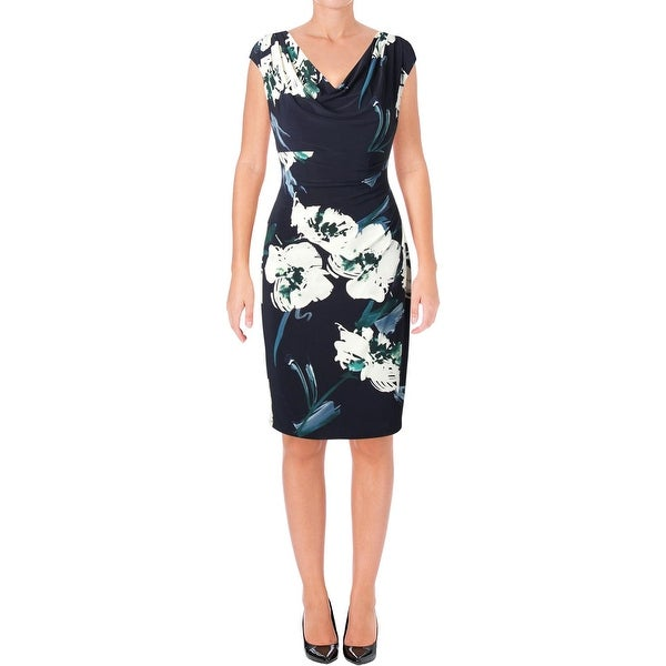 0921d16f7bb Lauren Ralph Lauren Womens Valli Belvedere Wear to Work Dress Floral Cowl  Neck