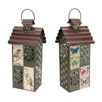 "Pack of 2 Filigree Birdhouse 2-Piece Sets of Decorative Lanterns 18"" - Green"