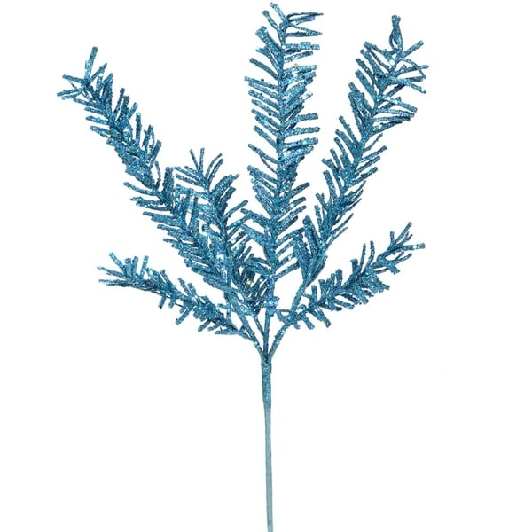 "21"" Sparkling Blue Rosemary Glitter Floral Crafting Christmas Spray"