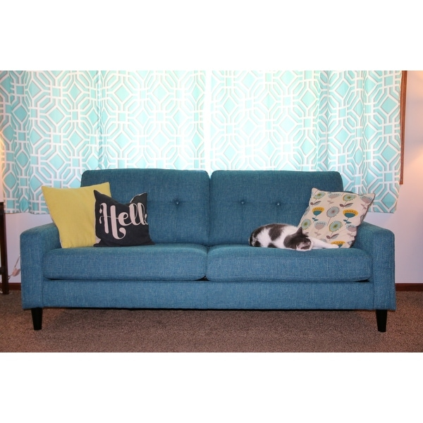 Shop Regina Scooped Arm Blue Tweed SoFast Sofa   On Sale   Free Shipping  Today   Overstock.com   21008940