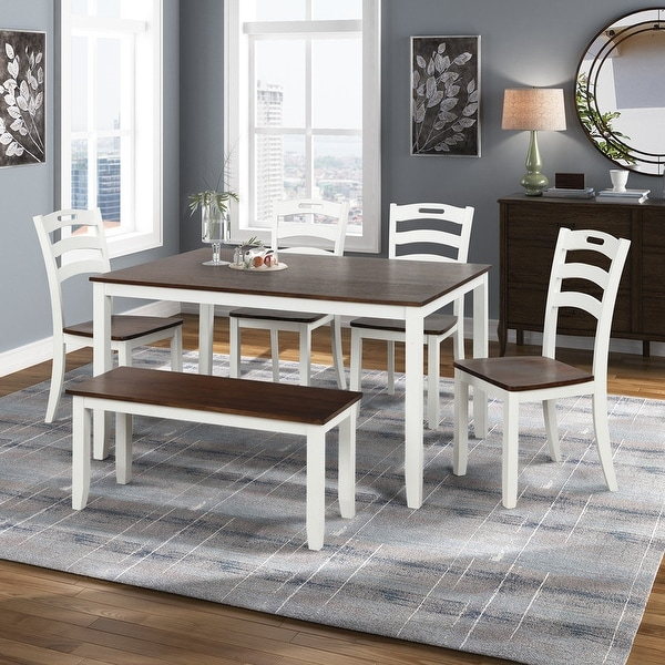 AOOLIVE 6PCS Dining Table Set with Bench and Waterproof Coat, Ivory. Opens flyout.