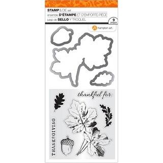 "Hampton Art Clear Stamp & Die Set 4""X8""-Thanksgiving Leaves"