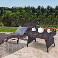 Costway Mix Brown Folding Rattan Side Coffee Table Patio Garden Outdoor Furniture - mix brown