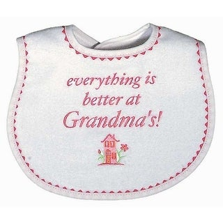 """Raindrops Baby Girls """"Everything Is Better At Grandma""""S"""" Embroidered Bib, Strawberry - One size"""