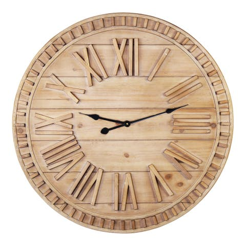 Stratton Home Decor 31.50 Inch James Wooden Wall Clock - 31.50 X 1.57 X 31.50