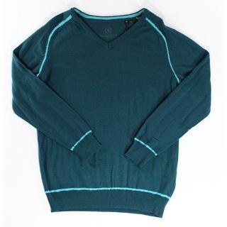 Bugatchi Uomo NEW Teal Green Mens Size Medium M V-Neck Sweater