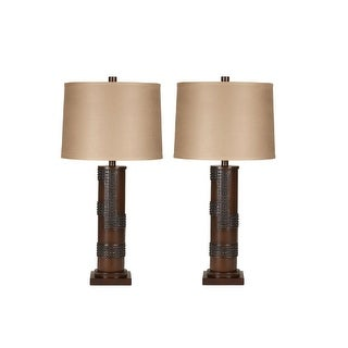 Oriel Antique Copper Finish Poly Table Lamp L311154 - Set of 2 Oriel Antique Copper Finish Poly Table Lamp