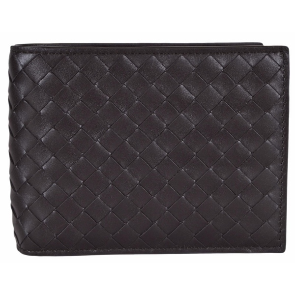 "Bottega Veneta Men's Dark Brown Woven Leather Bifold Wallet W/Coin Pocket - 5"" x 3.65"""