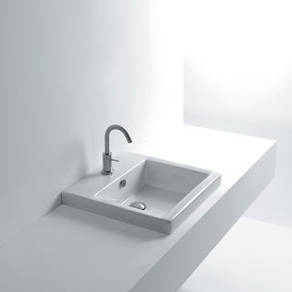 """WS Bath Collections Hox 48.03 WS07601F Whitestone 19"""" Ceramic Recessed Bathroom Sink with Single Faucet Hole and Overflow"""