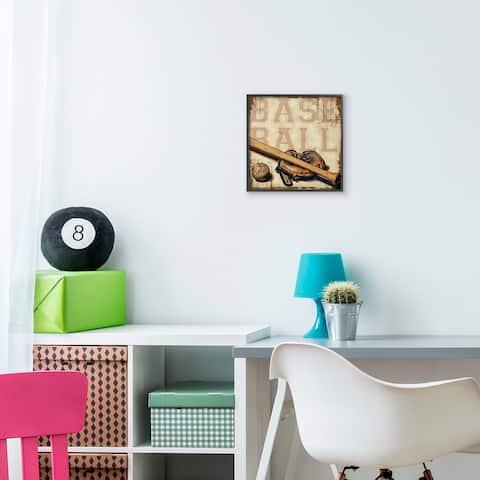 The Kids Room by Stupell Baseball Bat Mitt Ball Sports Word Design Framed Wall Art, 12x12, 12x12,Proudly Made in USA
