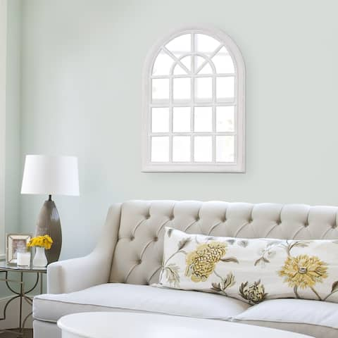 White Wash Arched Windowpane Wall Mirror - 29 x 41