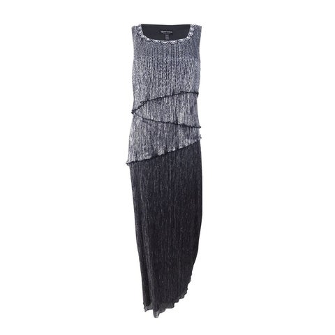 Connected Women's Beaded Tiered Gown - Black/Silver