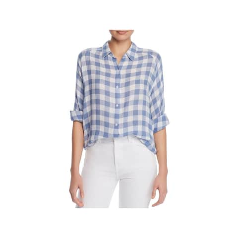 Rails Womens Natalie Button-Down Top Check Print Casual - Periwinkle Check