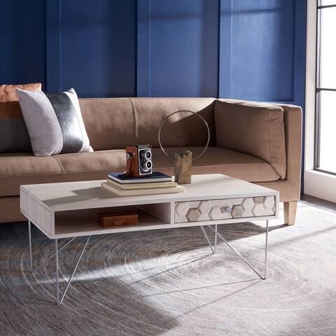 """SAFAVIEH Raveena 1-Drawer 1-Shelf Living Room Coffee Table - 40"""" W x 21.3"""" L x 15.7"""" H"""