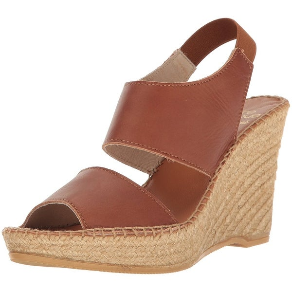André Assous Womens Reese Leather Open Toe Casual Espadrille Sandals