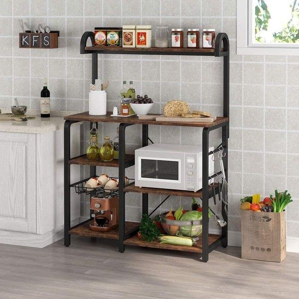 Kitchen Baker's Rack Microwave Oven Stand, Kitchen Cart Utility Storage Shelf Coffee Bar with 6 ...