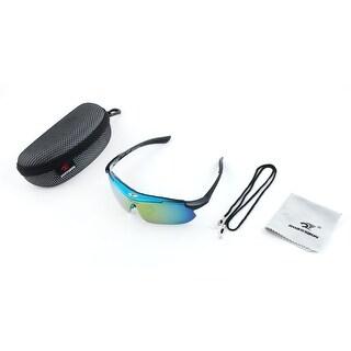 ROBESBON Authorized Exercise Polarized Rimless Frame Cycling Glasses Blue Set