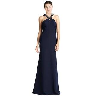 ML Monique Lhuillier Jeweled Knot Neckline Evening Gown Dress