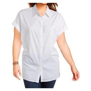 Lauren Ralph Lauren Womens Plus Button-Down Top Collared Short Sleeves