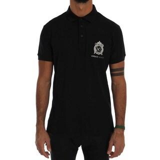 Versace Jeans Black Cotton Short Sleeve Polo T-Shirt - it46-s