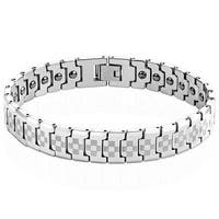 Laser Engraved Checkered Links Tungsten Carbide Bracelet - Gold (12.5 mm) - 8.25 in