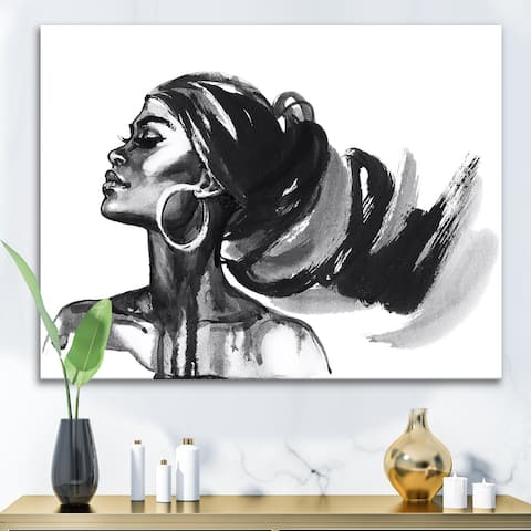 Designart 'Monochrome Portrait of African American Woman IV' Modern Canvas Wall Art Print