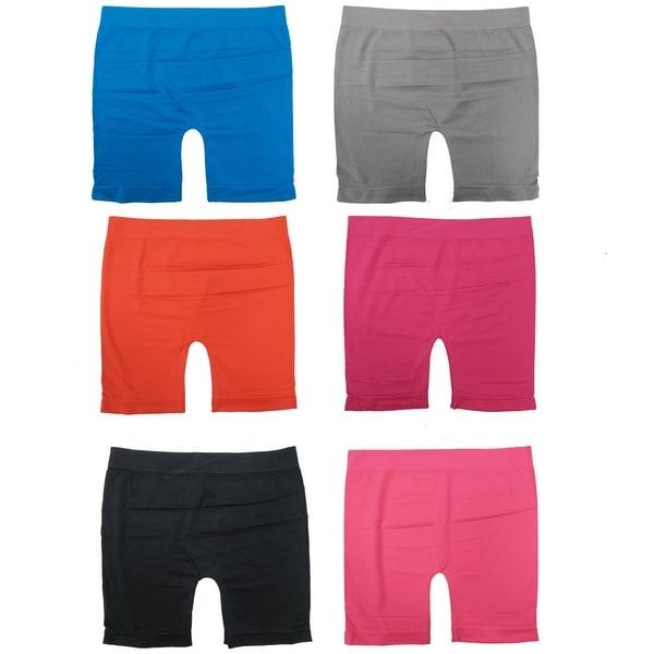 """Women's 6 Pack Seamless 12.5"""" Solid Color Fitness Biker Yoga Short Leggings"""