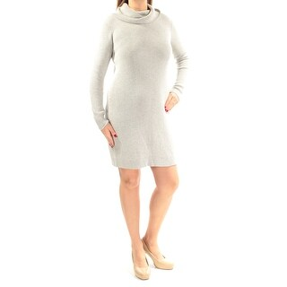 Womens Gray Long Sleeve Above The Knee Body Con Casual Dress Size: L