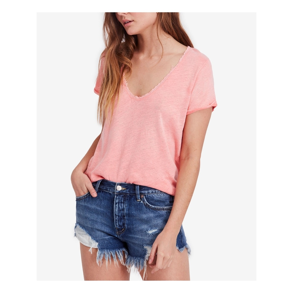 FREE PEOPLE Womens Coral Lace Trim Short Sleeve V Neck Top Size XS