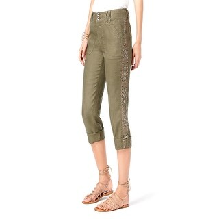 INC International Concepts Petites Cropped Cargo Capri Pants Olive, Size 14P