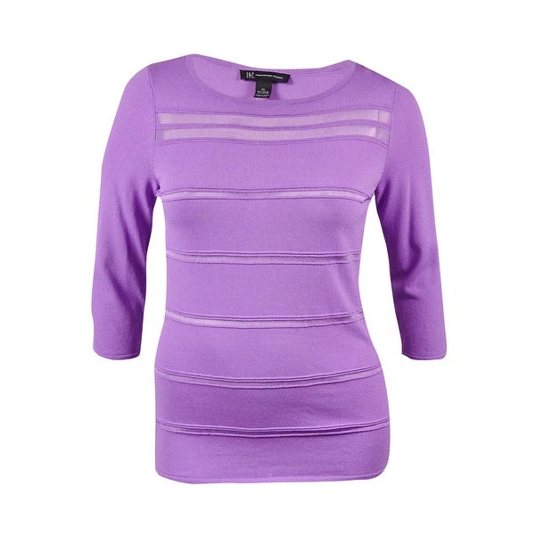 INC International Concepts Women's Illusion-Stripes Knit Top. Opens flyout.