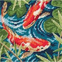"5""X5"" Stitched In Thread - Koi Pond Mini Needlepoint Kit"