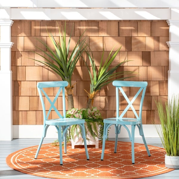 """SAFAVIEH Outdoor Living Axton Stackable Side Chair (Set of 2) - 17.3""""x18.7""""x33.9"""". Opens flyout."""