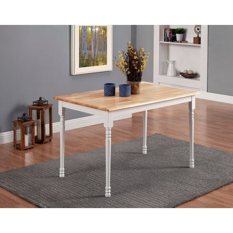Charlaine Natural and White Rectangle Dining Table