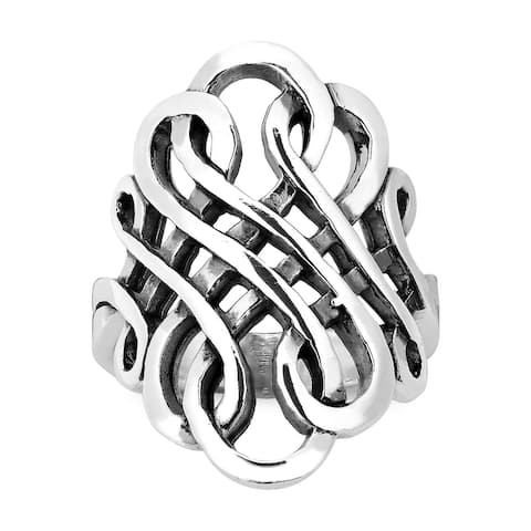 Handmade Forever Interconnected Infinity Knot Sterling Silver Ring (Thailand)