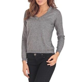 Cashmere Company COLLO V GG Grey Cashmere Blend Womens Sweater - eu=48/l