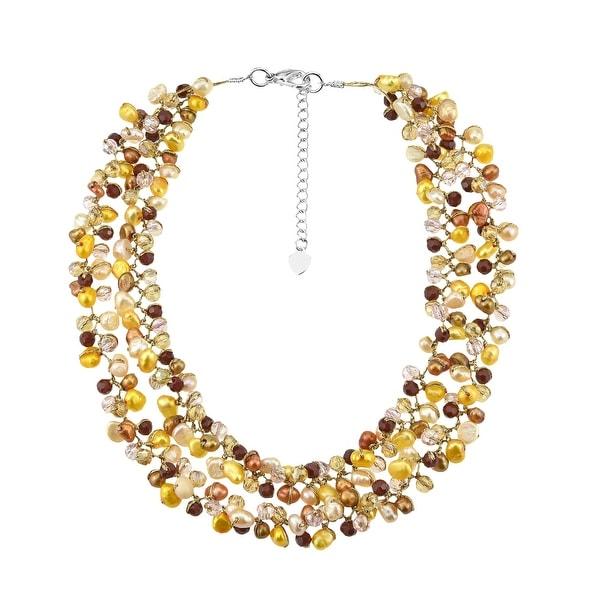 Handmade Captivating Fashion Pearls Crystals Silk Thread Bib Necklace (Thailand). Opens flyout.