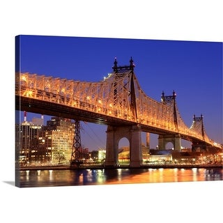 Premium Thick-Wrap Canvas entitled Queensboro Bridge and the East River at night, New York.