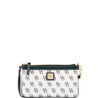 Dooney & Bourke Madison Signature Large Slim Wristlet (Introduced by Dooney & Bourke at $78 in Feb 2017) - White Black