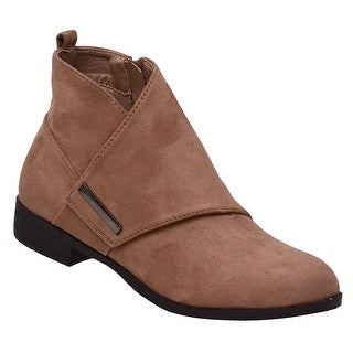 Weeboo Adult Taupe Wrap Panel Side Zipper Closure Ankle Boots